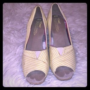 Toms Striped Wedges 7.5